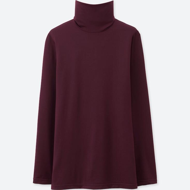 Women Heattech Turtleneck T-Shirt, Wine, Large