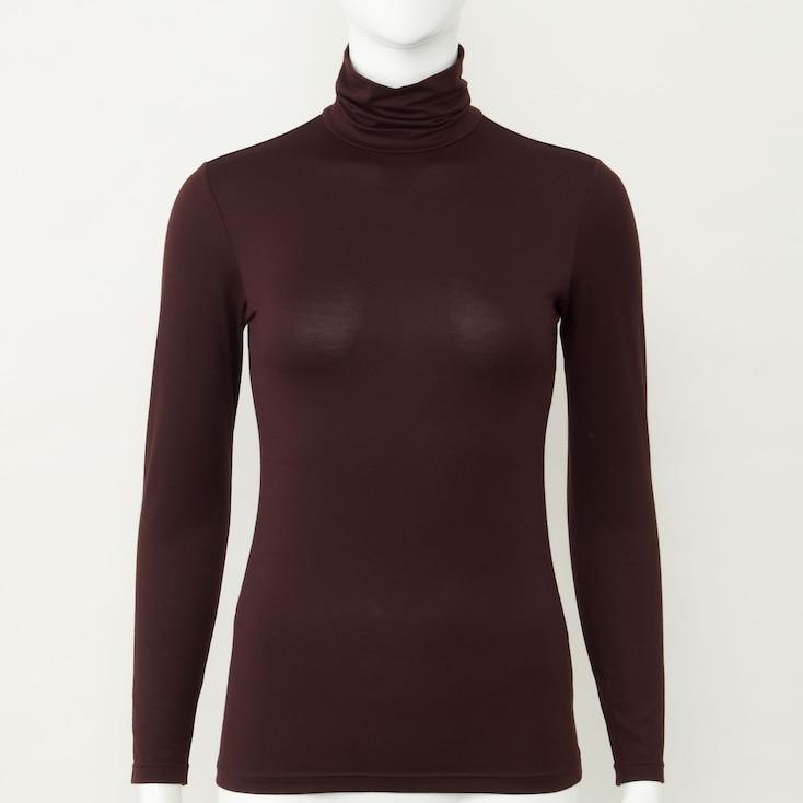 Women Heattech Turtleneck T-Shirt, Off White, Large