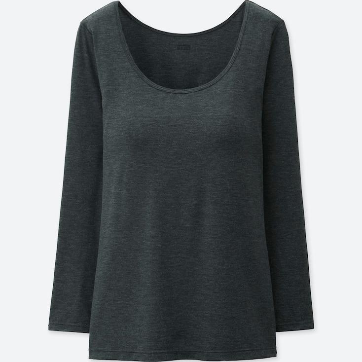Women Heattech Scoopneck Bra T-Shirt, Dark Gray, Large