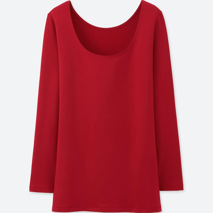 WOMEN HEATTECH EXTRA WARM SCOOP NECK T-SHIRT, RED, large