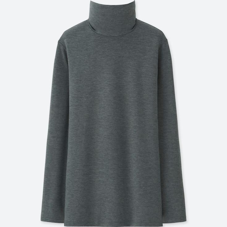 Women Heattech Extra Warm Turtleneck T-Shirt, Dark Gray, Large