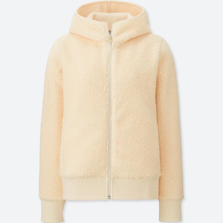 Women Blocktech Fleece Pile-Lined Hoodie, Off White, Large