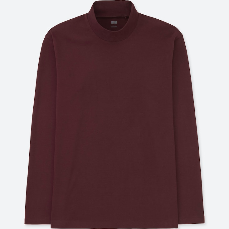 Men Soft Touch Mock Neck Long-Sleeve T-Shirt (Online Exclusive), Wine, Large