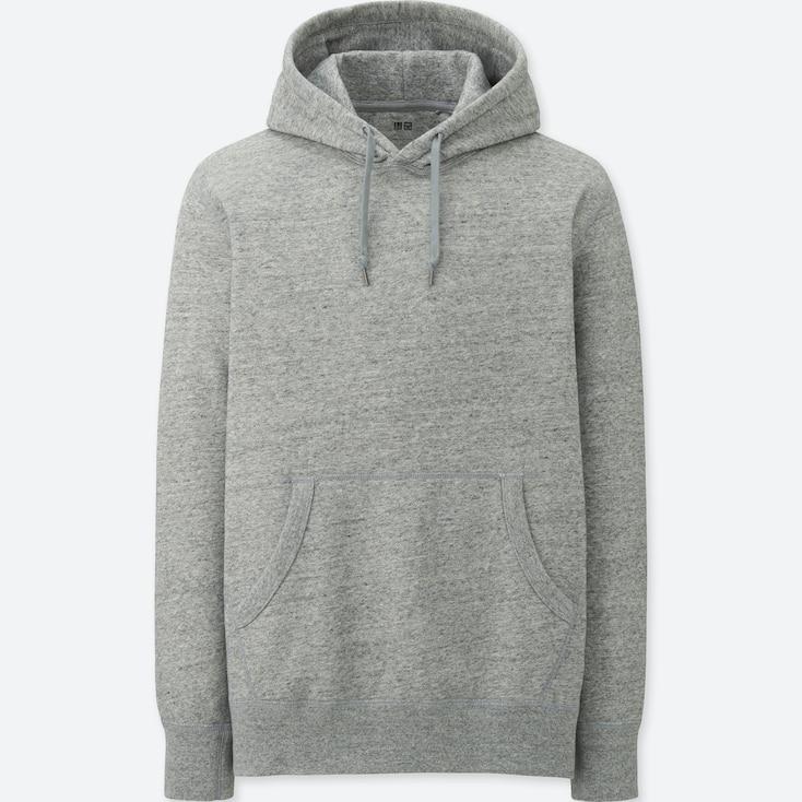 Men Long-Sleeve Sweat Pullover Hoodie, Gray, Large
