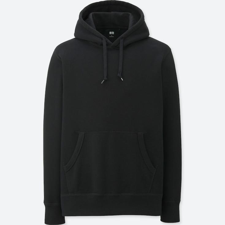 Men Long-Sleeve Sweat Pullover Hoodie, Black, Large