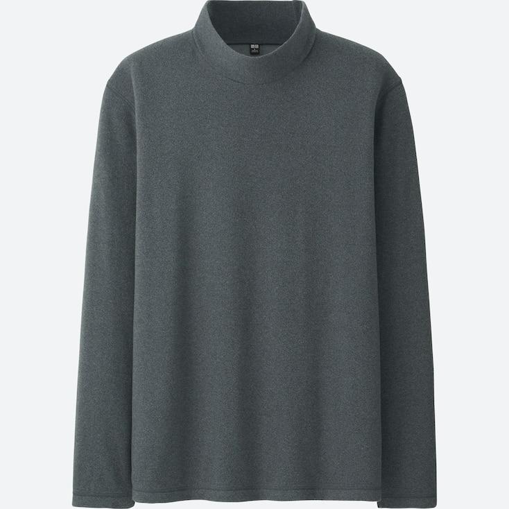 Men Heattech Fleece Mock Neck Long-Sleeve T-Shirt, Dark Gray, Large