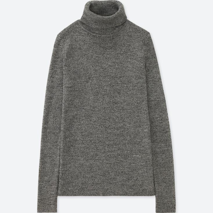 Women Extra Fine Merino Ribbed Turtleneck Sweater, Other, Large