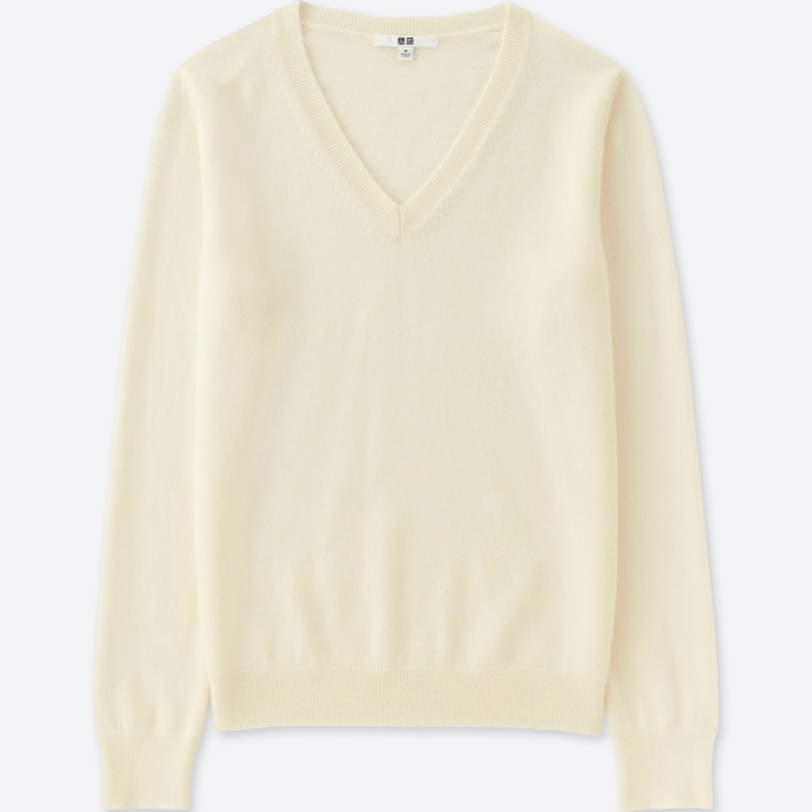 WOMEN CASHMERE V-NECK SWEATER, OFF WHITE, large