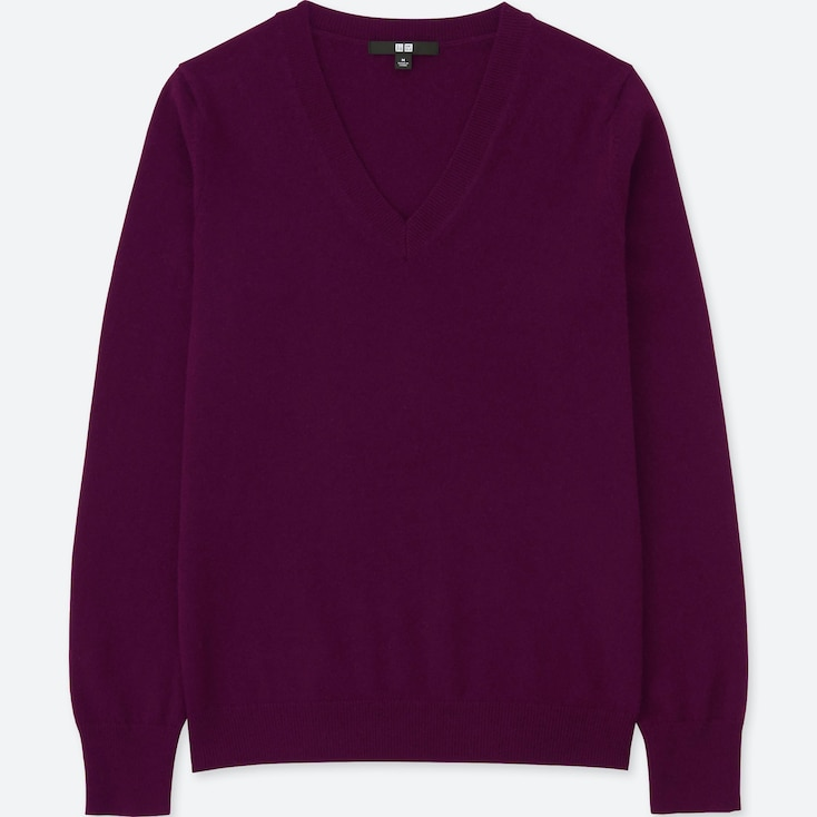 WOMEN CASHMERE V-NECK SWEATER, PURPLE, large