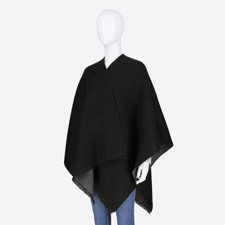 Women Reversible 2-Way Stole, Black, Large