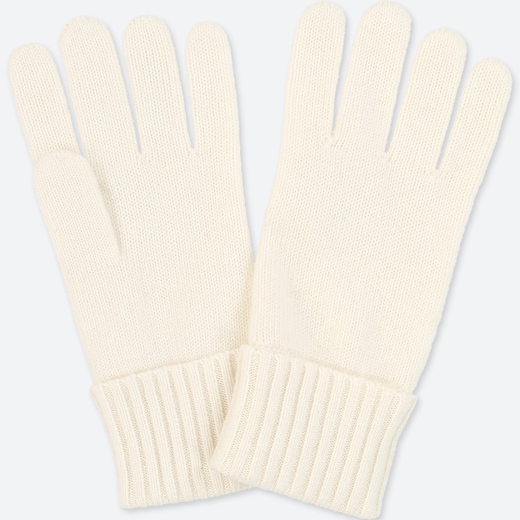 CASHMERE KNITTED GLOVES, OFF WHITE, large