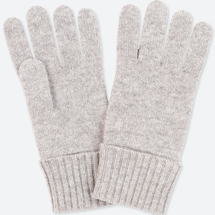 Cashmere Knitted Gloves, Light Gray, Large