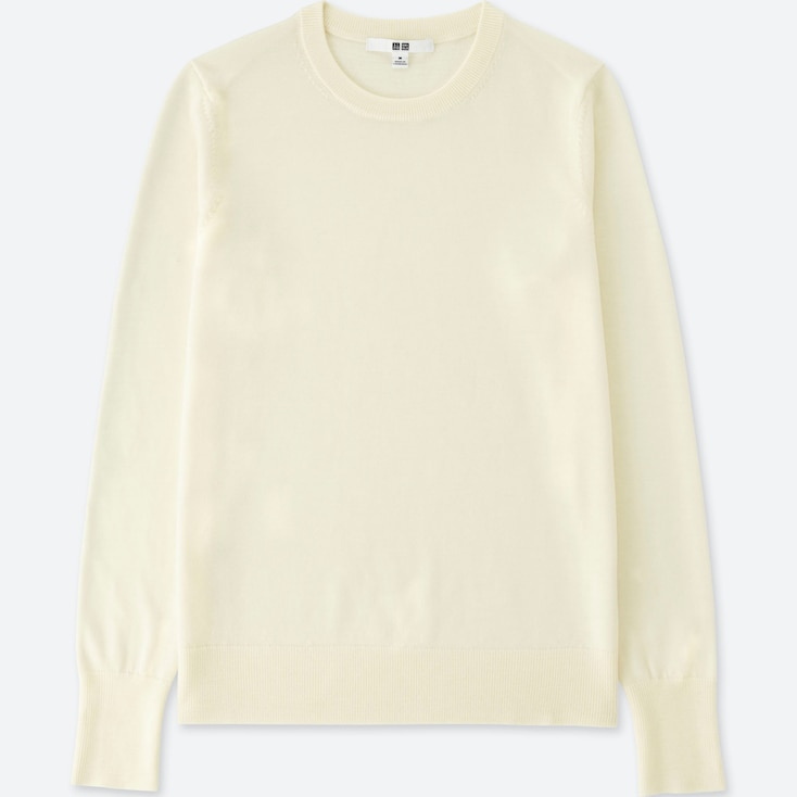 Women Extra Fine Merino Crew Neck Sweater, OFF WHITE, large