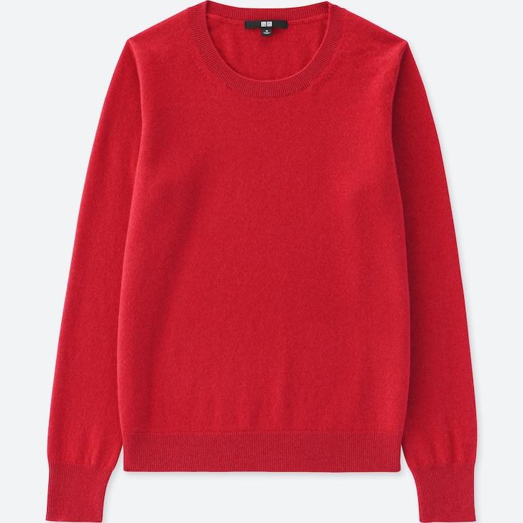 Women Cashmere Crew Neck Sweater, Dark Orange, Large