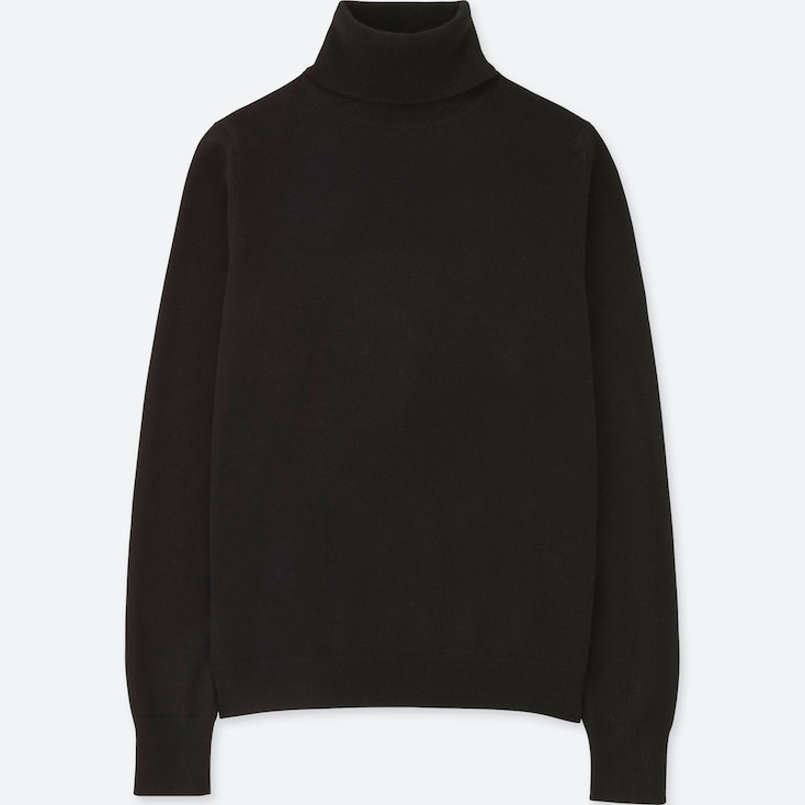 Women Cashmere Turtleneck Sweater, Black, Large