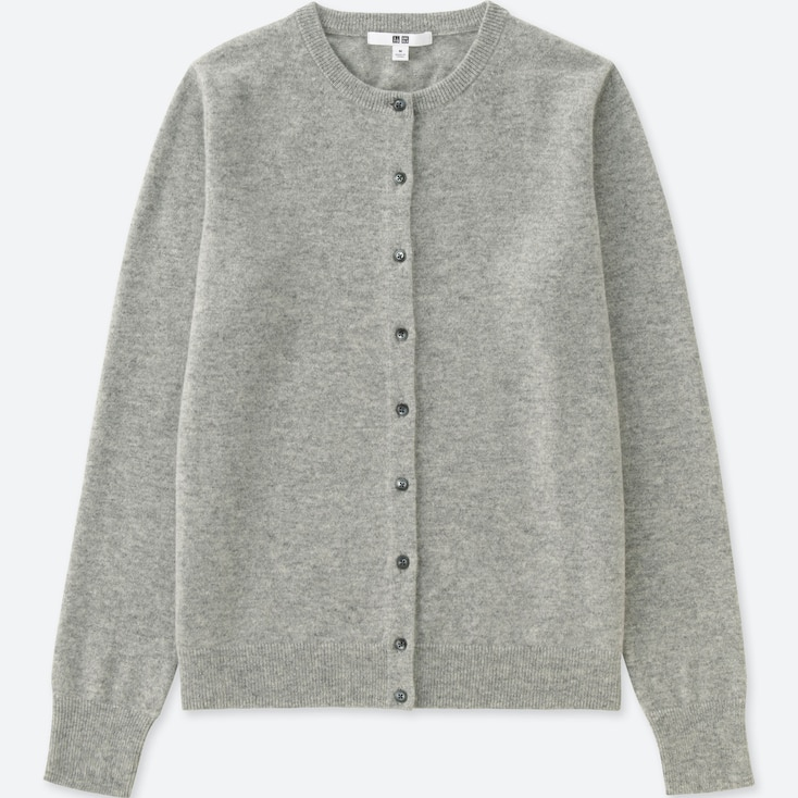 WOMEN CASHMERE CREW NECK CARDIGAN (ONLINE EXCLUSIVE), LIGHT GRAY, large