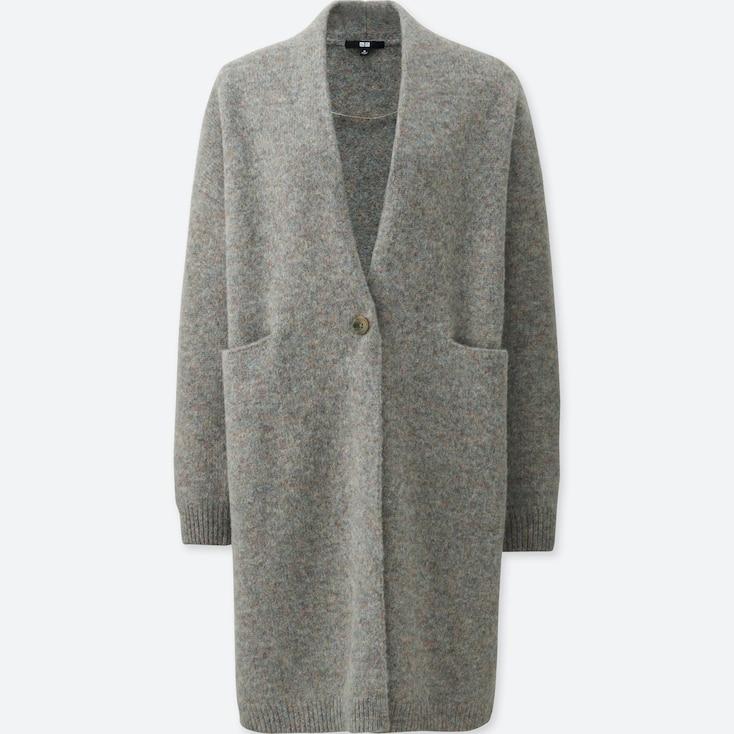 Women Melange Wool Coat, Brown, Large