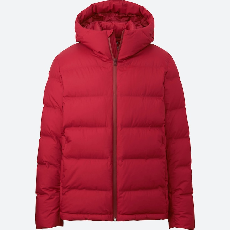 Men Seamless Down Parka, Red, Large