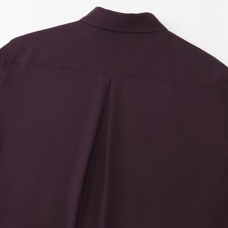 Women Rayon Long-Sleeve Blouse, White, Large