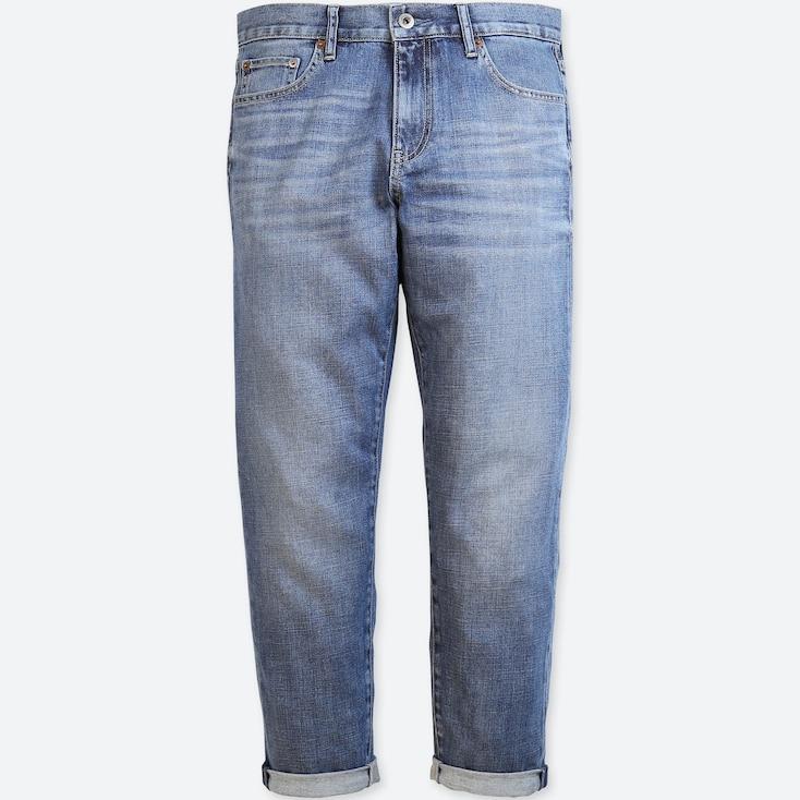 Women Slim Boyfriend-Fit Ankle Jeans, Blue, Large