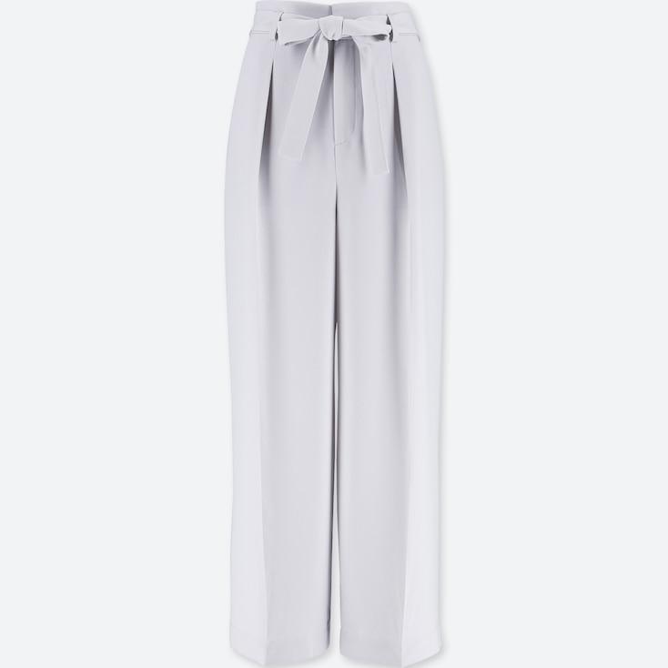 Women High-Waist Ribbon Wide Leg Pants, Navy, Large