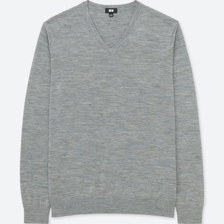 MEN EXTRA FINE MERINO V-NECK LONG-SLEEVE SWEATER, GRAY, large
