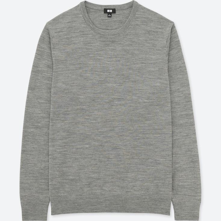 Men Extra Fine Merino Crew Neck Long-Sleeve Sweater, Gray, Large