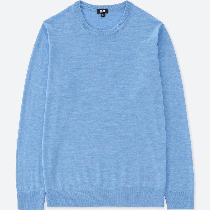 Men Extra Fine Merino Crew Neck Long-Sleeve Sweater, Blue, Large