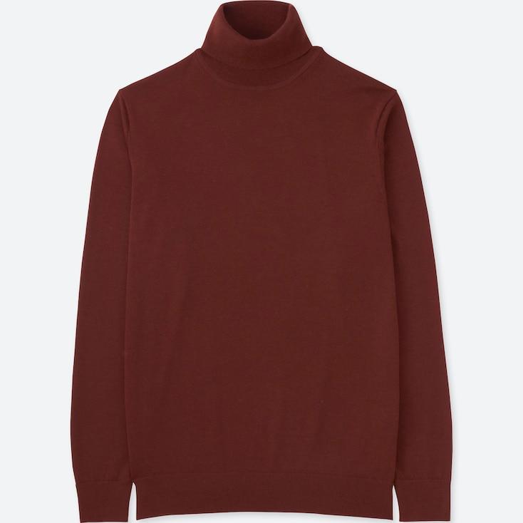 Men Extra Fine Merino Turtleneck Sweater, Dark Orange, Large