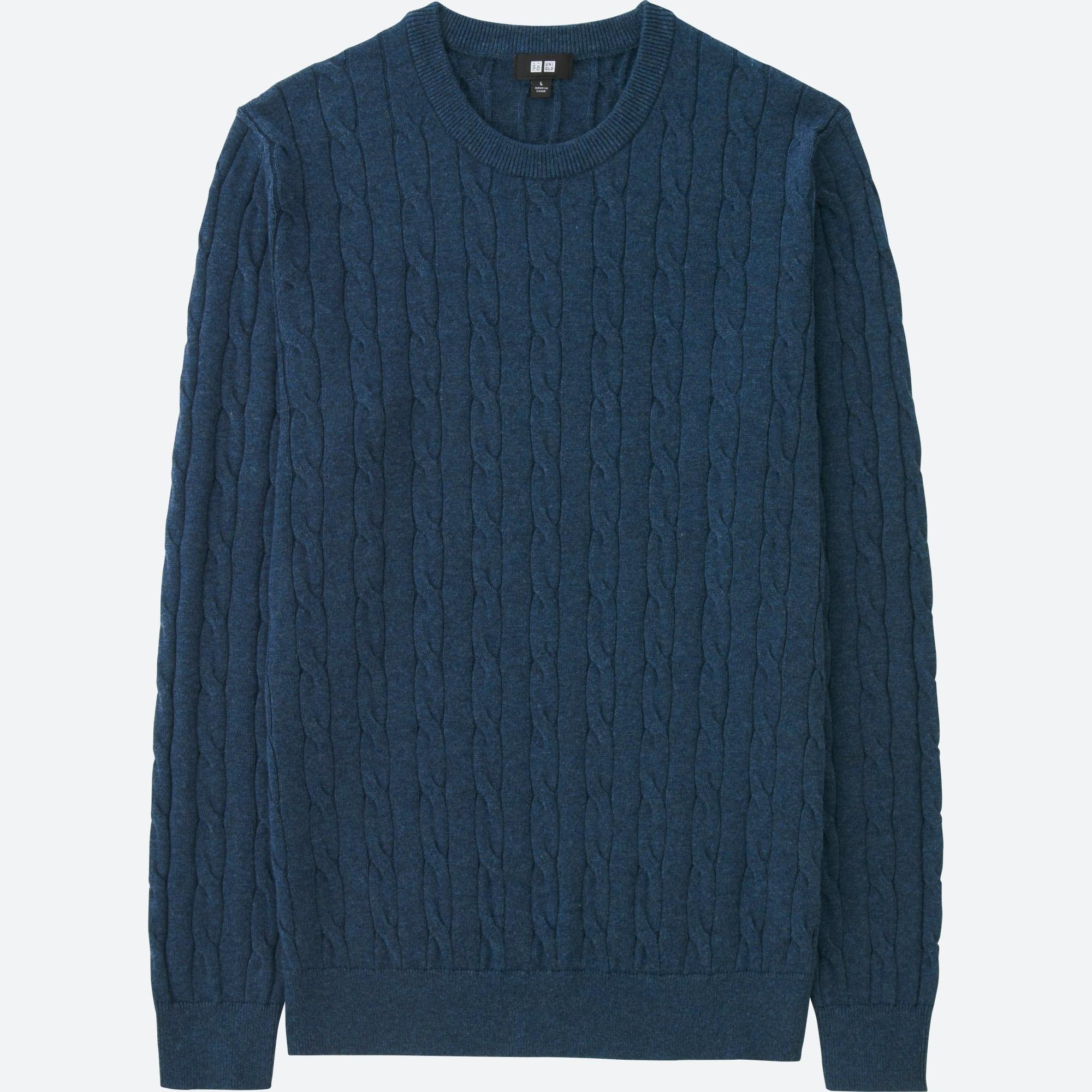 Men Cotton Cashmere Cable Crew Neck Sweater Uniqlo Us