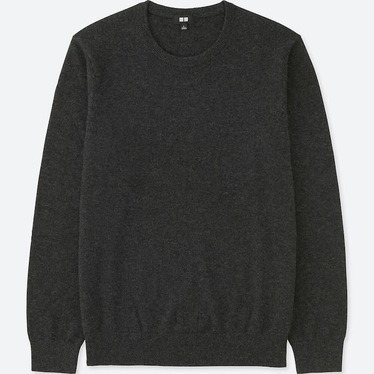 Men Cashmere Crew Neck Sweater, Dark Gray, Large