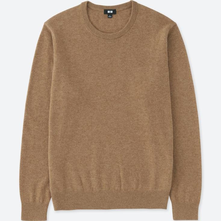 Men Cashmere Crew Neck Sweater, Khaki, Large