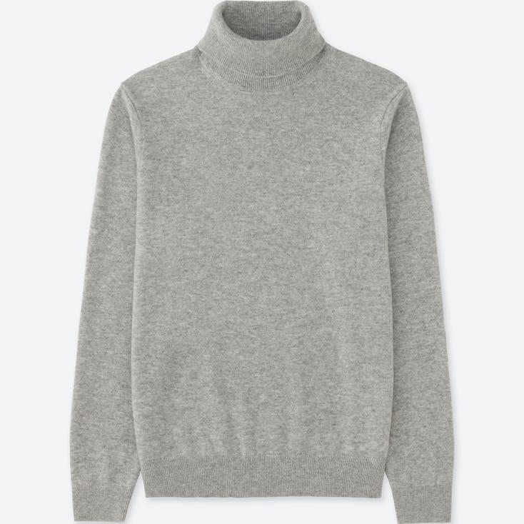Men Cashmere Turtleneck Sweater, Gray, Large