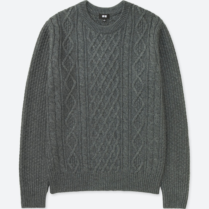 MEN CABLE CREW NECK LONG-SLEEVE SWEATER, GRAY, large