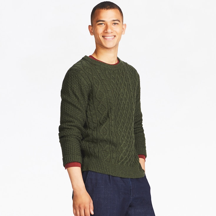 MEN CABLE CREW NECK LONG-SLEEVE SWEATER, OLIVE, large