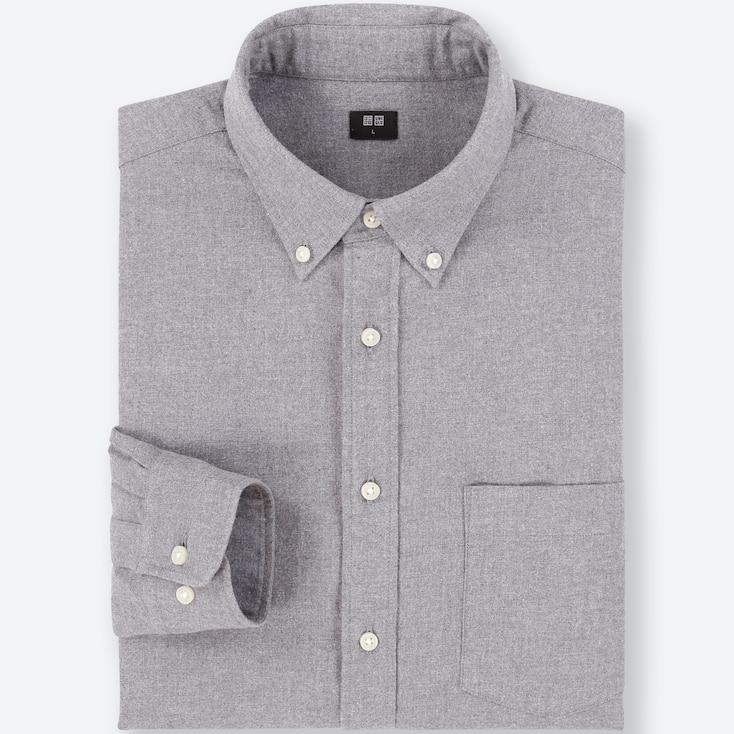 Men Flannel Long-Sleeve Shirt, Gray, Large