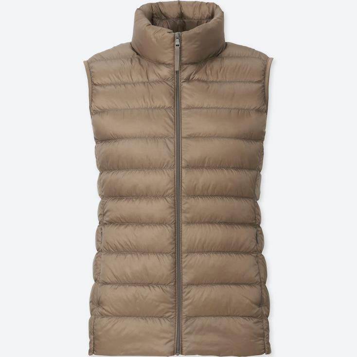 Women Ultra Light Down Vest, BEIGE, large