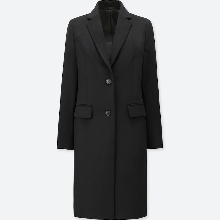Women Wool Cashmere Chester Coat, Black, Large