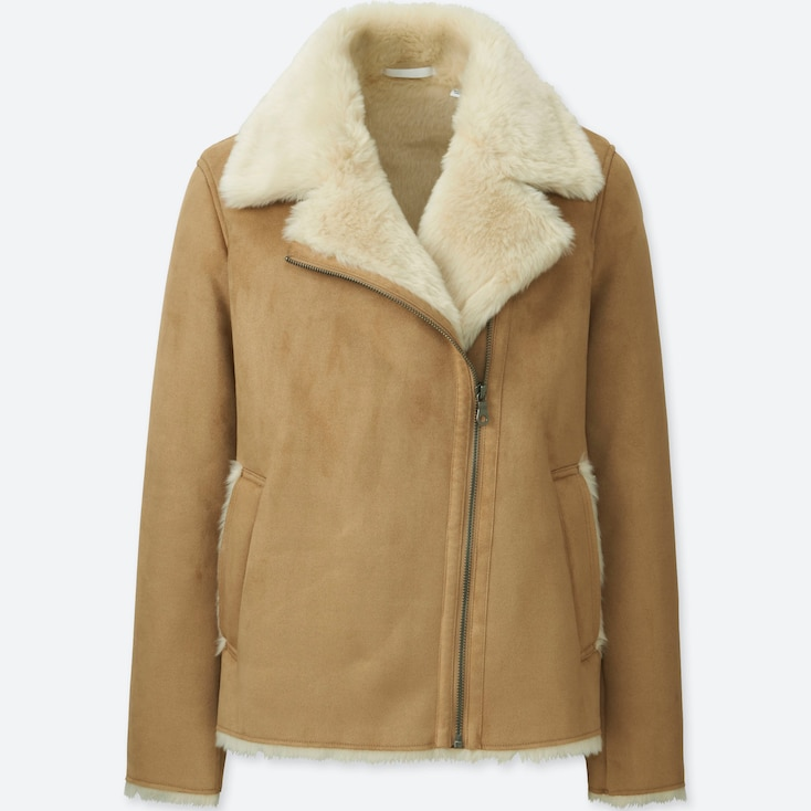 Women Faux Shearling Jacket, Beige, Large