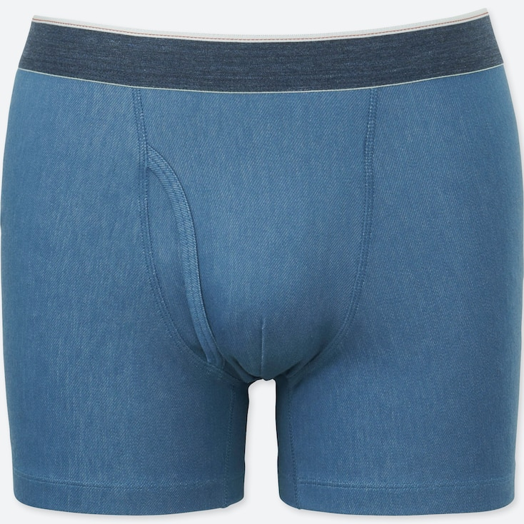 MEN SUPIMA®  COTTON BOXER BRIEFS, BLUE, large