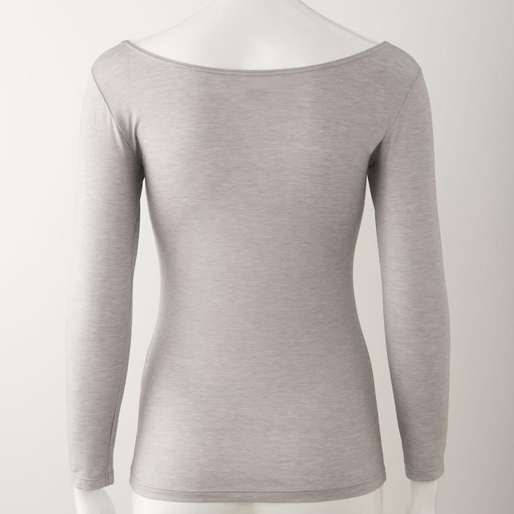 Women Heattech Ballet-Neck Long-Sleeve T-Shirt, Pink, Large