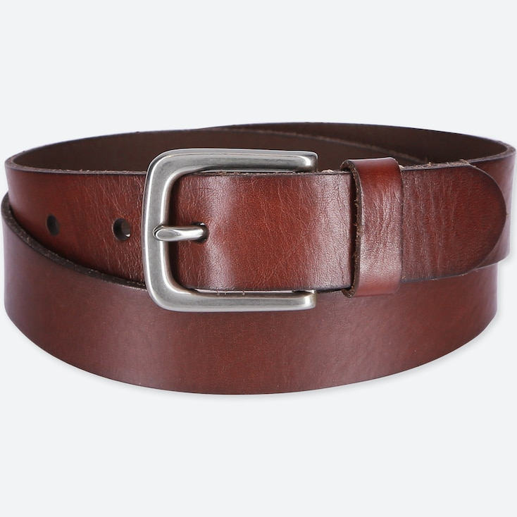 MEN ITALIAN LEATHER VINTAGE BELT, BROWN, large