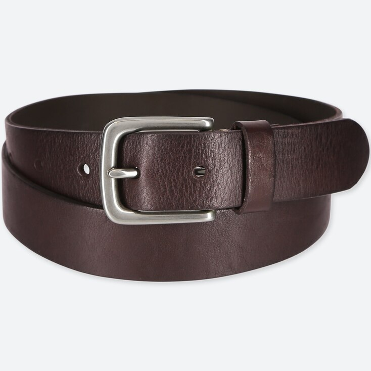 MEN ITALIAN LEATHER VINTAGE BELT, DARK BROWN, large