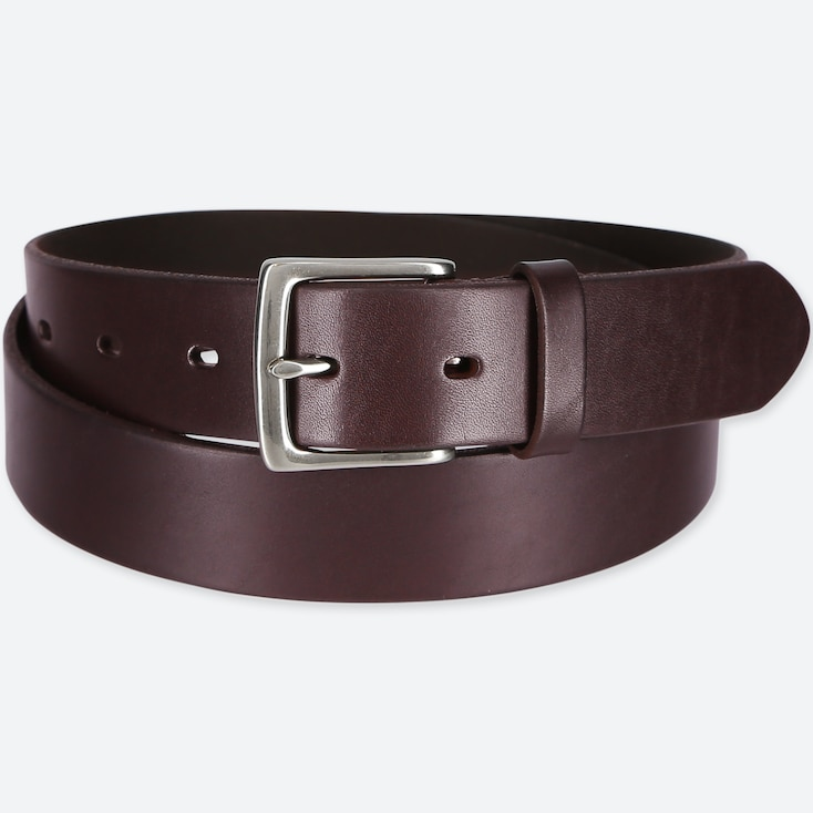 MEN ITALIAN OILED LEATHER BELT, DARK BROWN, large