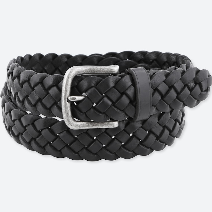 MEN LEATHER WIDE MESH BELT, BLACK, large
