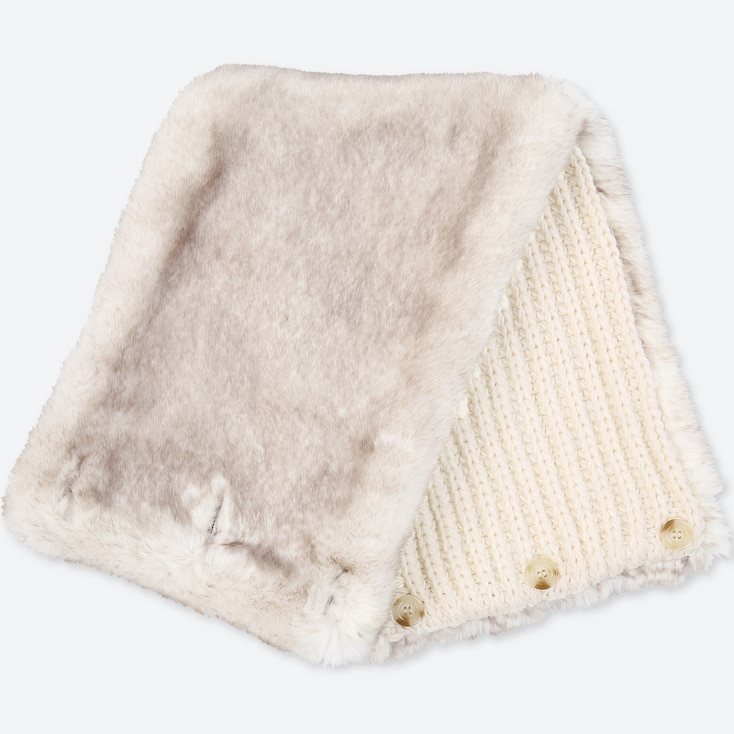 Women Faux Shearling Snood, Off White, Large