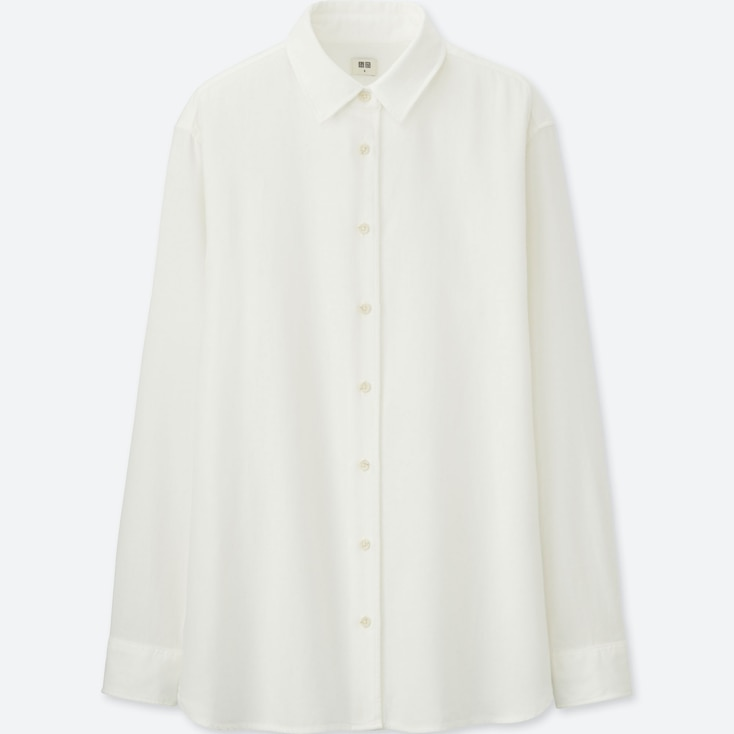 Women Flannel Long-Sleeve Shirt, Off White, Large