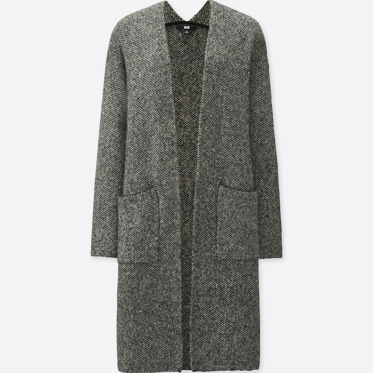 WOMEN TWEED KNITTED LONG SLEEVE COAT, GRAY, large
