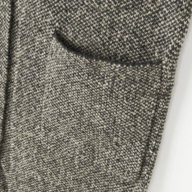 Women Tweed Knitted Long Sleeve Coat, Gray, Large