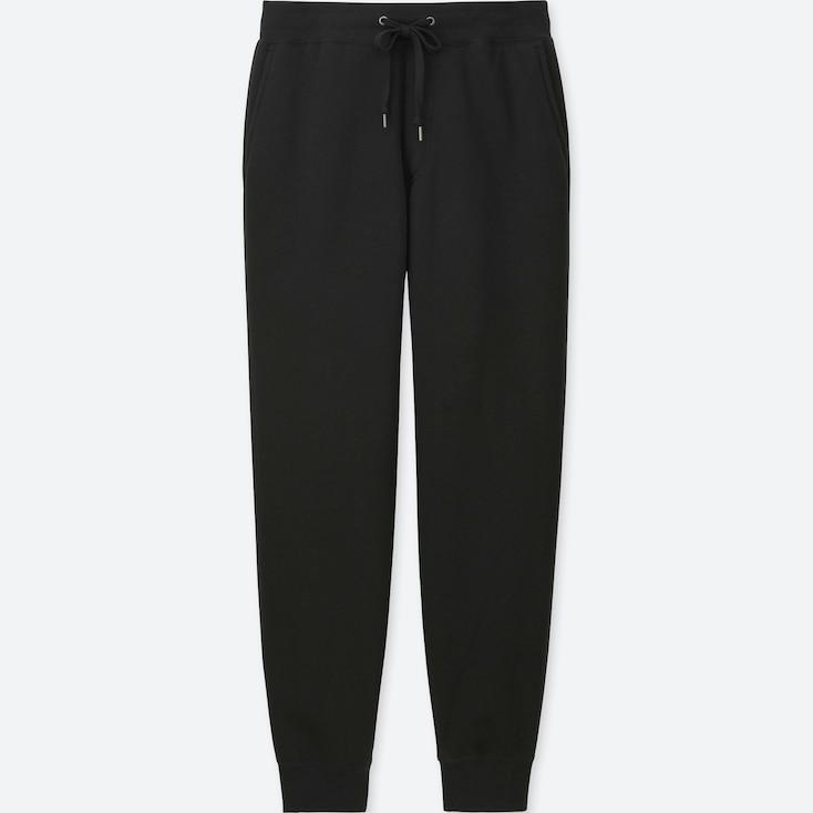 Men Pile-Lined Sweatpants, Black, Large